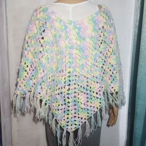Handmade Vintage Pastel Knitted Poncho